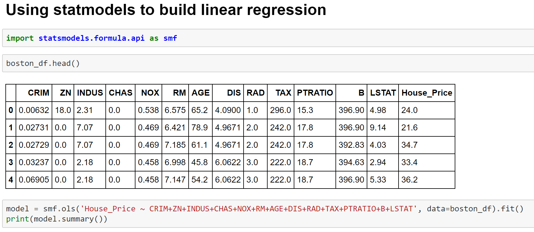 Fitting Linear Regression Model using Statmodels