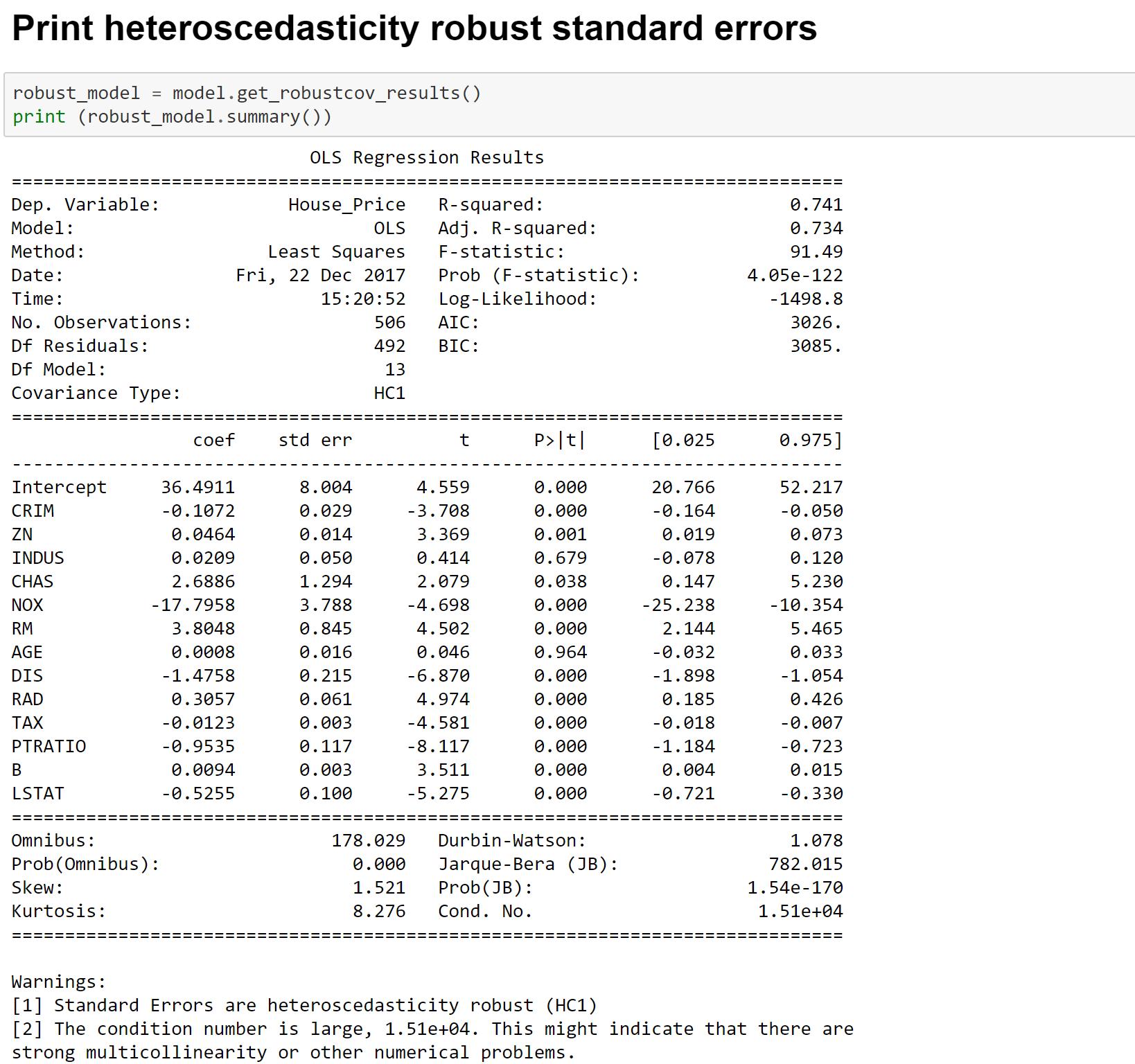 Heteroscedasticity Consistent Linear Regression Estimates