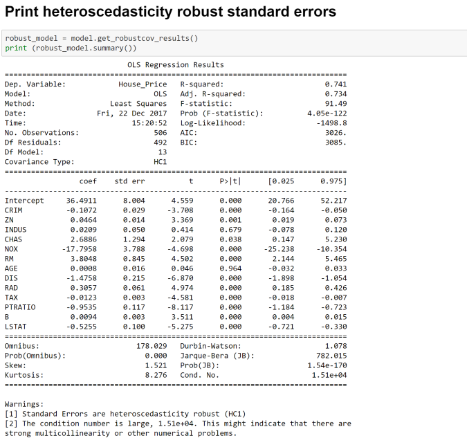 Heteroscedasticity Consistent Linear Regression Estimates